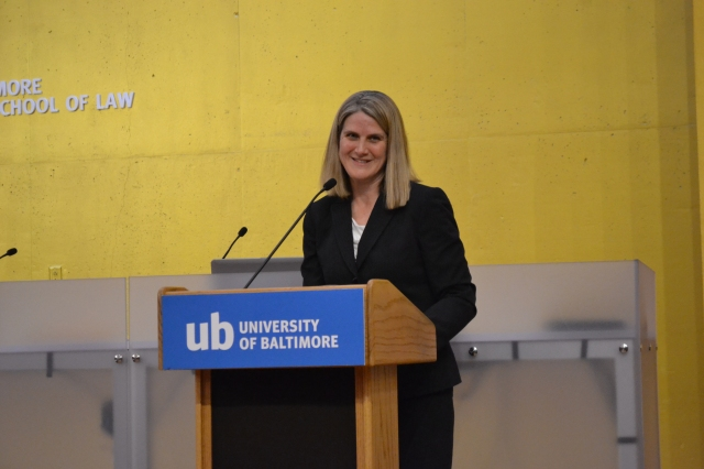 Caroline Ciraolo, LL.M. '94, acting assistant attorney general for the Tax Division of the U.S. Department of Justice, gives remarks at the 21st Annual Awards Ceremony on April 12, 2015.