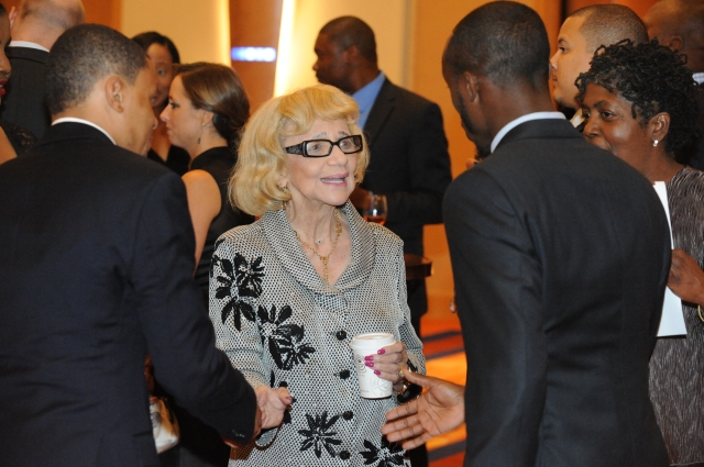 Fannie Angelos (center) at an October 2014 gala for the University of Baltimore School of Law's Fannie Angelos Program for Academic Excellence.