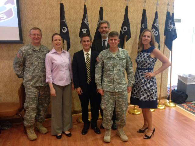 Pictured from left:  Col. Lee Cummings, deputy commander - East, U.S. Army Reserve Legal Command; Aniela Szymanski, visiting professor of practice, William and Mary Law School; Professor Hugh McClean; Daniel Nagin, vice dean for experiential and clinical legal education and clinical professor of law, Harvard Law School; Maj. John Fitzpatrick, supervising attorney and senior clinical instructor, Harvard Law School; Laurie Neff, director, Mason Veterans and Servicemembers Legal Clinic, George Mason University School of Law.