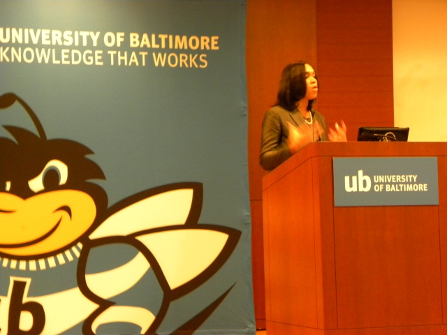 Baltimore City State's Attorney Marilyn Mosby speaks to graduates of this summer's Junior State's Attorney Program and their families at the University of Baltimore.
