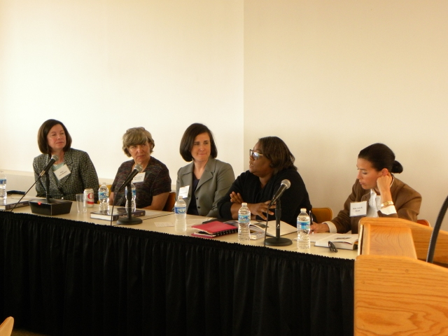 Pictured left to right: Laurence M. Katz Professor of Law Jane C. Murphy; the Hon. Lynne A. Battaglia of the Maryland Court of Appeals; Diane E. Feuerherd, an associate at Miller, Miller & Canby; the Hon. Yvette M. Bryant of the Circuit Court for Baltimore City; and the Hon. Julie R. Rubin of the Circuit Court for Baltimore City.