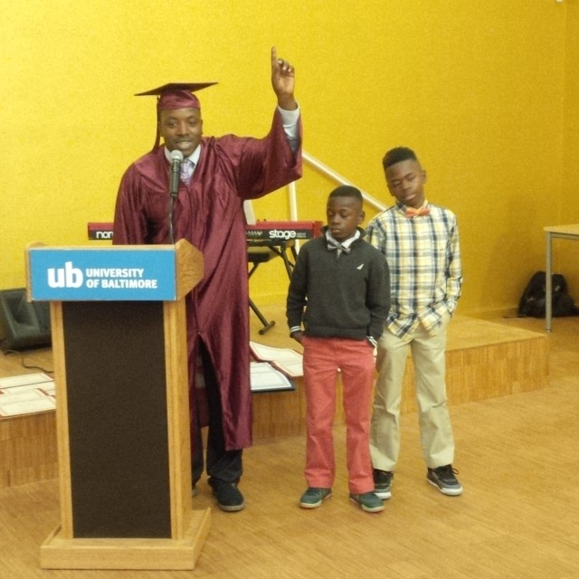 PSC graduate Baye Parker with sons Jalen (11) and Jawon (10).
