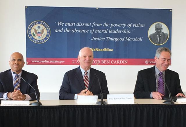 From left, Dean Joseph Curtis Professor of Law F. Michael Higginbotham, Sen. Ben Cardin and Dean Ronald Weich.