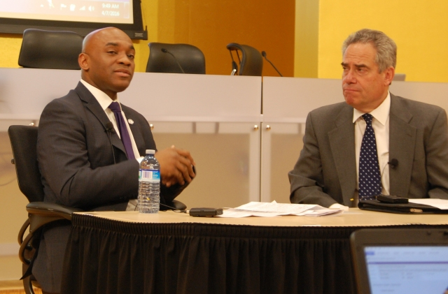 James Cole Jr. (left), general counsel of the U.S. Department of Education, talks with School of Law Dean Ronald Weich at the Eighth Annual Urban Child conference.