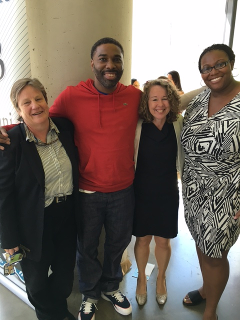 Malcolm Bryant with (from left) Professor Michele Nethercott, director of UB's Innocence Project Clinic; Associate Dean Vicki Schultz; and student-attorney Towanda Luckett.