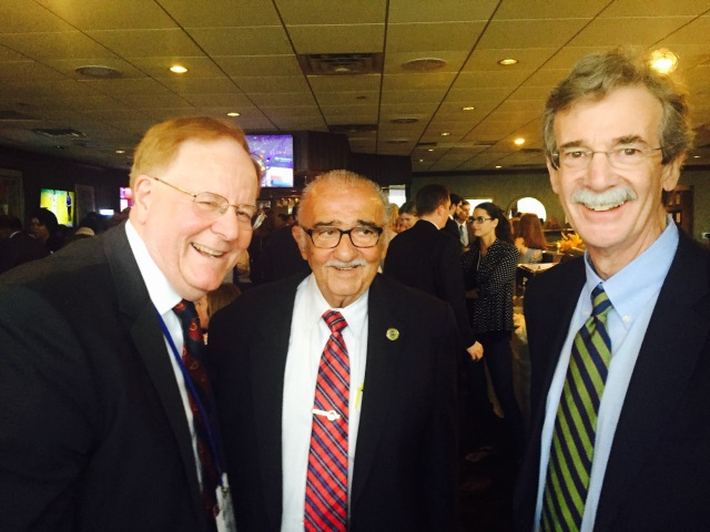 Judge C. Philip Nichols Jr., J.D. '73; Rep. Joseph Vallario Jr., LL.B., J.D. '63; and Attorney General Brian Frosh.
