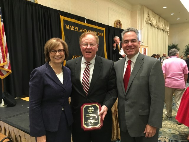 From left: The Hon. Mary Ellen Barbera, chief judge of the Maryland Court of Appeals; the Hon. C. Philip Nichols Jr., of the Circuit Court for Prince George's County; and Dean Ronald Weich. Judge Nichols won the Judge Anselm Sodaro Judicial Civility Award at the MSBA's Ocean City meeting.