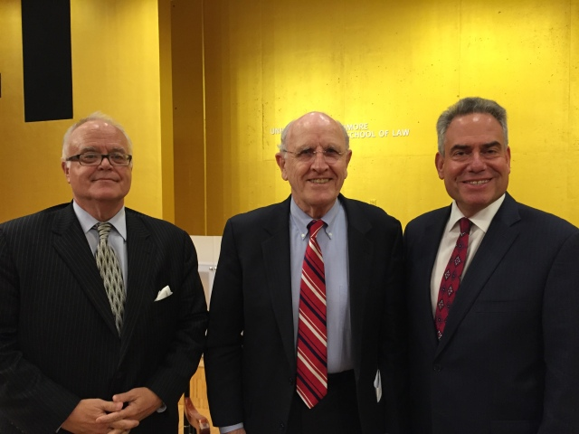 From left: Professor Garrett Epps, Lyle Denniston and Dean Ronald Weich.