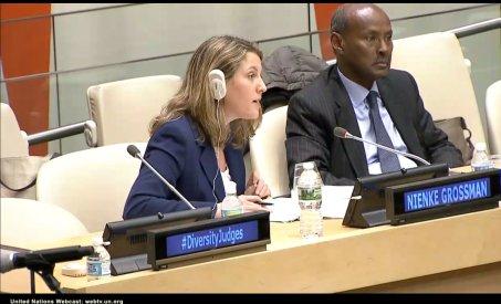 Professor Nienke Grossman speaks at the United Nations on Oct. 27, 2016.