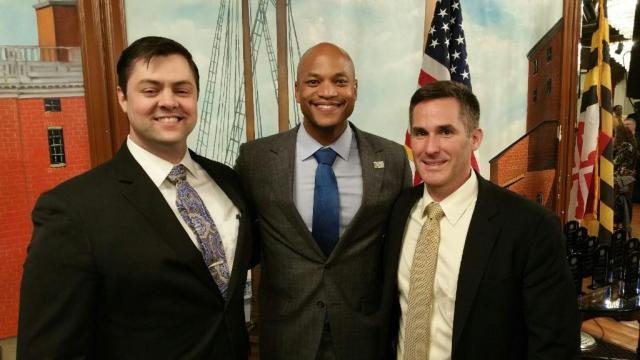 Pictured from left are 3L Thomas Barnes, author and radio host Wes Moore and Professor Hugh McClean, director of The Bob Parsons Veterans Advocacy Clinic.