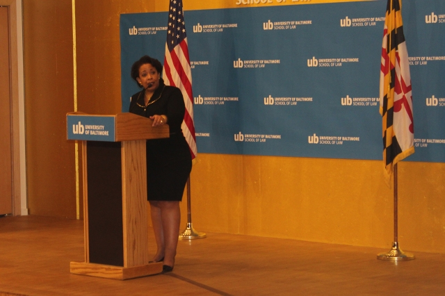 Outgoing U.S. Attorney General Loretta E. Lynch delivers her capstone speech on community policing at the UB School of Law on Thursday (Jan. 12).