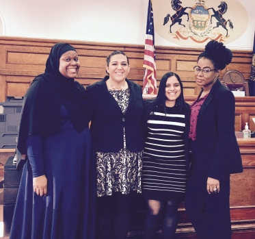 From left: UB BLSA team members Jordana Forbes, Emily Cruikshank, Aneesa Khan and Chanel White.