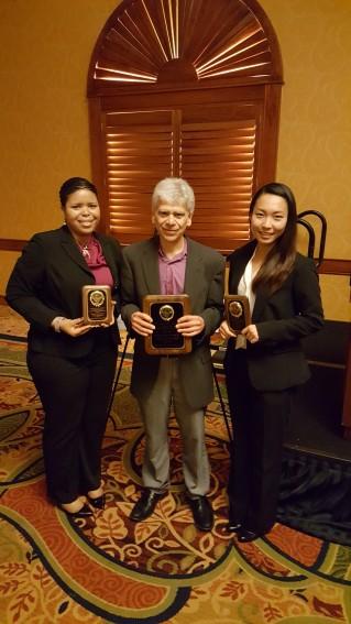 Professor Fred Brown with Amanda Odorimah (left) and Selena Qian