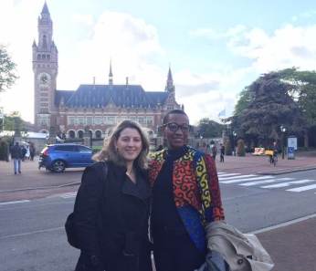 Professor Nienke Grossman (left) and Howard University Professor Josephine Dawuni in front of the Peace Palace in The Hague, Netherlands.
