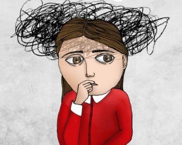illustration of girl under stress
